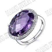 Pave Set Natural Si/h Diamond Oval 17x12mm Flawless Amethyst Ring 14k White Gold