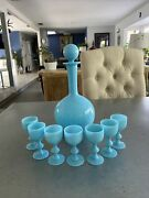 Antique French Portieux Vallerysthal Blue Del Glass Decanter And 7 Cordials