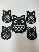 Vintage Cast Iron | Owl Trivets | Set Of 5 | Footed Hot Plates