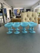 8 Pv Portieux Vallerysthal Antique French Blue Opaline Milkglass Sherbet Glasses