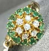 1700 Emerald Diamond 14k Yellow Gold Vintage Domed Flower Halo Ring Size 5.75