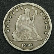 1891 Seated Liberty Silver Quarter
