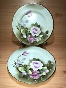 Lefton China Luncheon Dinner Plate Heritage Green Pattern 3069set Of 2