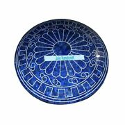 42 Antique Marble Table Top Dining Coffee Inlay Blue Lapis Pietra Dura Mosaic