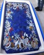 5and039x3and039 Marble Table Top Dining Coffee Inlay Blue Lapis Antique Pietra Dura E