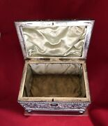 Casket Jewellery Jewelry Box Large Derby Silver Co 1888 Lined Repousse Antique