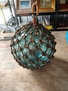 Vintage Roped Glass Ball Fishing Float