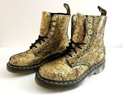 Dr. Martens 1460 Pascal Iridescent Gold Crackle Leather Boots Size 6nib