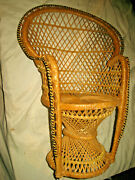 Handmade Large 16 Wicker Basket Baby Toy Doll House Wood Chair Crafted Antique