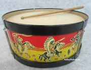 Vintage 60s Noble Cooley Child Cowboy Indian Western Parade Band Drum And Stick