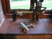 Very Nice Early Tinplate Plane Germany Working Friction Tin Penny Toy C.1920-30