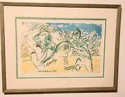 Signed Leroy Neiman Colored Etching Borg/connors Us Tennis Open 1976 W/ Bonus