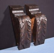 Pair Of French Antique Carved Chestnut Wood Corbels Salvage Trim Salvage