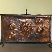 Arts And Crafts Copper Coal Scuttle Rectangular With Sunflowers Original Liner