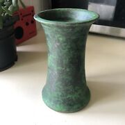 Weller Handmade American Pottery Coppertone Green Brown Fluted Bouquet Vase Ohio