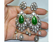 Mughal Style Sterling Silver Antique 4.14ct Rose Cut Diamond Polki Earrings O837