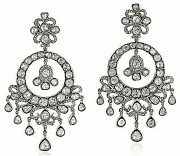 Victorian Antique Look Sterling Silver 11.50ct. Rose Cut Diamond Earrings P066