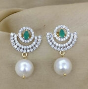 1.55ct Natural Real Round Diamond 14k Hallmark Stamp Gold Emerald Earrings Q842