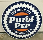 24 Pure Oil Co Sign / Purol Pep Sign / Gas Oil Petro Signs / Advertising Signs