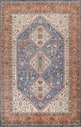 Geometric Vegetable Dye Oriental Area Rug Hand-knotted Wool Blue Carpet 10x14 Ft