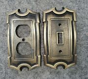 Pair Of Vintage Metal Switch And Outlet Plates Deco Antique Brass Bronze