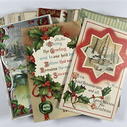 Lot Of 40 Vintage Christmas Postcards 1910s Holly Motif New Years