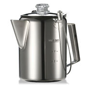 Outdoor 9 Cup Camping Coffee Pot Stainless Hiking Percolator Coffee Maker Q3q5