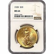 1928 St Gaudens 20 20 Dollar Us Gold Coin Mint State Bu Uncirculated Ngc Ms64