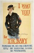 Original Vintage Poster I Want You For The Navy Usa Wwi World War Propaganda Ol