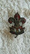 Vintage Boy Scouts Of America Scout Leader Red Enamel Pin Bsa