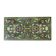 3and039x2and039 Green Marble Table Top Corner Center Inlay Home Room Decor Antique Ig