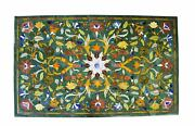 4and039x2.5and039 Green Marble Table Top Center Pietra Dura Inlay Home Decor Antique Fgsf