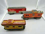 Marx Train Pacemaker 174580 And A.t.and S.f 1951 Santa Fe Red And Orange Cars