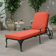Boyel Living Reclining Outdoor Chaise Lounge Antique Bronze Aluminum Red Cushion