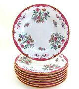 Eight Antique Spode Copelands China Puce Pink White Dinner Plates Multi Colored