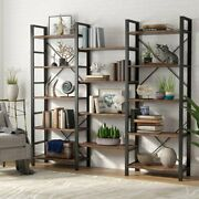 Vintage Industrial Style Shelves Wood And Metal Triple Bookcases Home Furniture