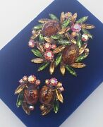 Vintage Signed Weiss Art Glass Cabochons Rhinestones Brooch And Clip Earrings Set