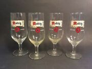 Antique French Stemmed Beer Glasses 4 From Mutzig Of Alsace, France C.1930s