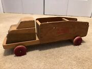 Very Rare Vintage Wooden Toy Fire Truck American Crayon Company