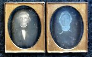 Pair Early 1840s Ninth Plate Daguerreotypes Old 1700s Man Wife Original Seals