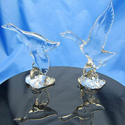 Pair Signed Heisey Crystal Mallard Ducks Wings Up And Wings Down Excellent