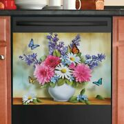 Colorful Spring Flowers Dishwasher Magnet Cover White Daisy Butterfly Magnet