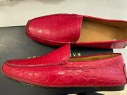 100 Bnwt Authentic Mens Red Crocodile Loafers Shoes 3700 Size 9.5