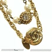 Necklace Pendant Choker Chain Auth Vintage Coin Coco Medal Long 180cm F/s