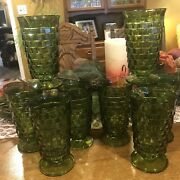 Vtg 8 Green Footed Drinking Glasses Euc Smoke Free Home