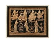 Large Framed Indian Textile Metal Thread And Fabric Mural Dancing Royal Court