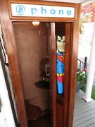 Antique Working 1940and039s Phone Booth Solid Oak Mahogany Pressed Tin Walls.