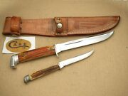 Vintage Case Xx Fixed Blade Knives Genuine Stag Two Xx Era Knives And Twin Sheath