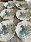 """Set Of 6 Edie Rose Home Peacock Collection Porcelain 9"""" Accent Salad Plates"""