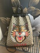 Authentic Wolf Print Drawstring Bag Backpack